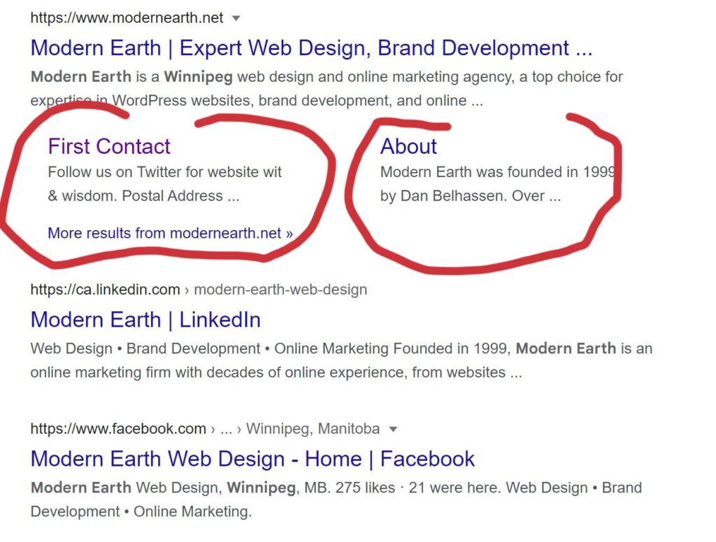 rich results for modern earth google search